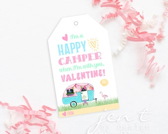 Printable Valentine Tags for Kids - Camping Valentines - Happy Camper