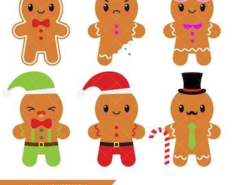 Kawaii Gingerbread Clipart / Gingerbread Man / Cookies
