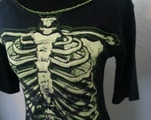 Skeleton boat neck top - Available in XS or Small ; horror, halloween