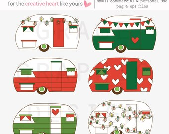 Christmas Clipart Set, Retro Camper Clipart, Commercial Use, Hand Illustrated Holiday Graphics, DIY Christmas Cards, Greetings, Holidays Art