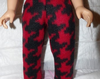 Red & black houndstooth print Fleece leggings for 18 inch dolls - ag289