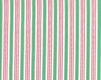 Sugar Plum Christmas Candy Cane Stripe Green fabric by Bunny Hill Designs for Moda Fabric #2916-16