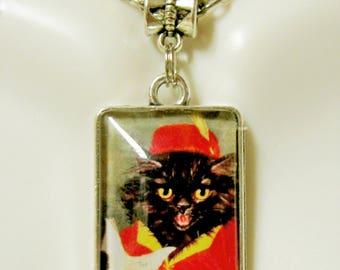 Little Tom Tucker nursery rhyme cat pendant and chain- CAP02-018