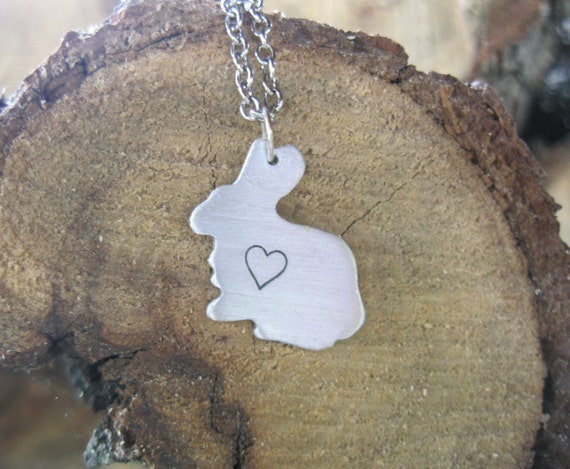 Vegan Necklace-Vegan Jewelry-Mini Bunny with Heart Necklace-Eco Friendly-Recycled Metals-Mothers Day-Valentines Day