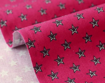 Cotton fabric stars x 50cm dark red background