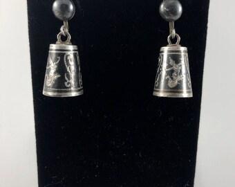 Vintage Sterling Silver Siam Earrings