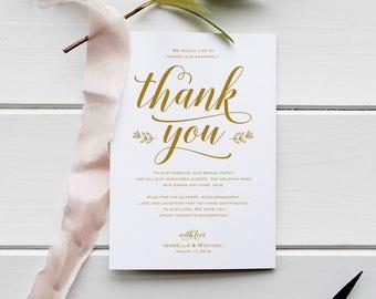 Gold Wedding Thank You Printable Template, Thank You Card Template, Printable Thank you, Thank You Template, Thanks Template, WPC_998