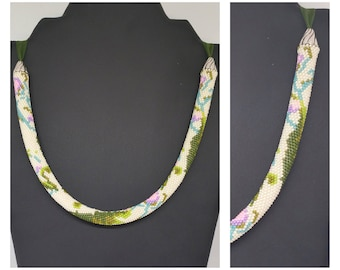 """Giverny"" beads crochet necklace."