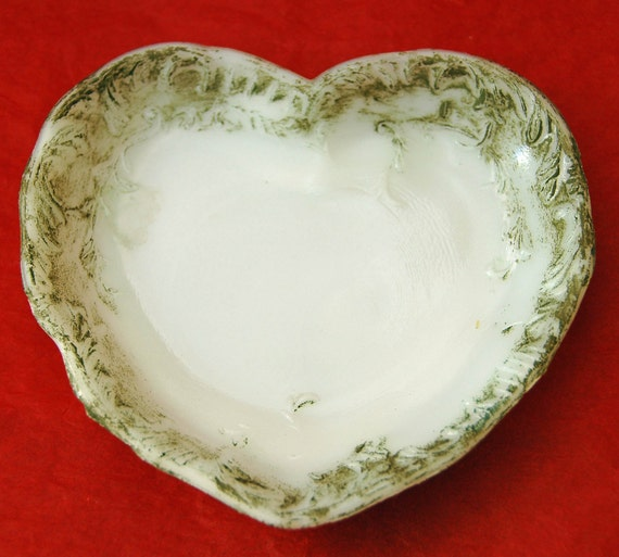 Antique DITHRIDGE HEART MILK Glass Dish, Victorian, 1880's, Floral, Cold Painted, Jewelry / Trinket Tray - Valentine's Gift -