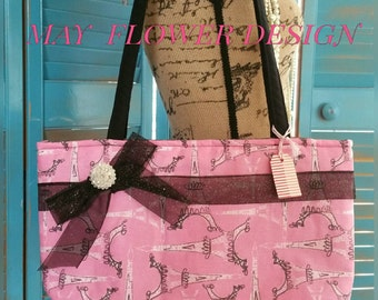 Pink French Inspired Tote Paris Eiffel Tower Tote