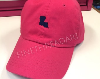 Ready to Ship Louisiana LA Adult Baseball Hat Cap Hot Pink Fuchsia and Navy Blue Unisex or Ladies Women