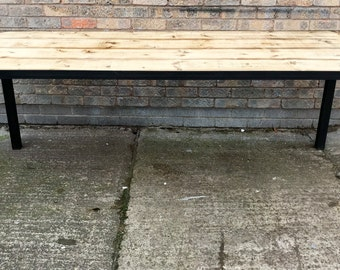 Industrial chic reclaimed wood dining, conference, office table - 6ft x 2.5ft