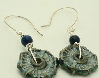 Blue Earrings, Textured Ceramic Geometric Dangle,s Geometric Jewelry, Handmade Sterling SIlver Earrings, Rustic Boho Earrings, Gift Under 25