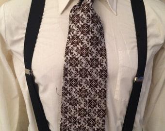1970s Patterned Necktie - Lion Crests - Polyester Disco Tie