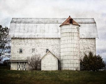 Farmhouse Decor, Fixer Upper Decor, White Barn Landscape, Rustic Home Decor, Country Decor, Farmhouse Decor White Barn, Barn Art Farm.