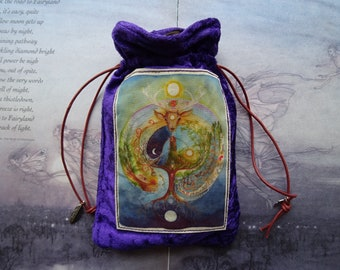 Deer Medicine Purple Velvet Tarot Card Bag