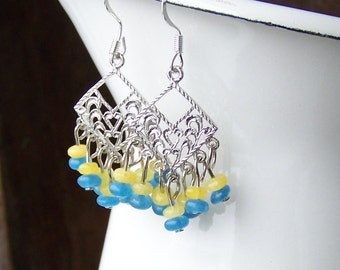 1/2 PRICE Jade Drop Earrings, Silver Filigree Earrings, Chandelier Earrings, Blue Yellow Earrings, Etsy, Etsy Jewelry, Beaded Earrings