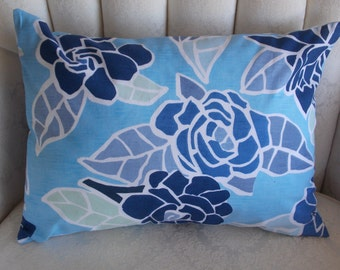 ABSTRACT BLUE FLOWERS Pillow. 12.5x17.  Accent throw pillow - look at all those blues! Watch your decor pop!  Love it with navy or white!