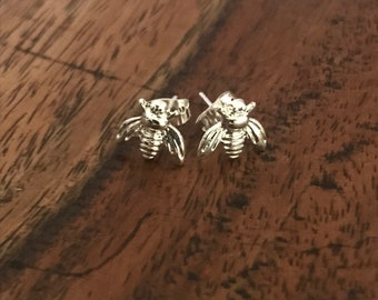 Silver Tiny Cute Bumblebee Honey Bee earrings studs