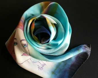 Handpainted silk scarf of girl in Italy,One-of-a-kind,Italian villa, scarf accessories, gifts for her, honeymoon, hand signed, blue, teal