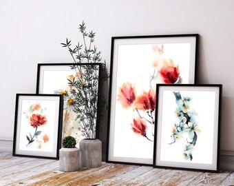 4 Botanical Prints, Floral Art Print Set, watercolor painting print, daisies, magnolia, peony and cherry blossoms, flowers art print set