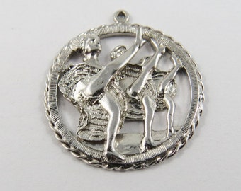 Klondike Days Edmonton Alberta Canada with Line of Dancers Sterling Silver Charm or Pendant.