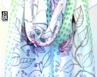 Silk wedding shawl, wedding silk scarf, Hand painted Silk Scarf, spring wedding scarf, Silk wedding scarf, Purple and Blue Kimono Floral,