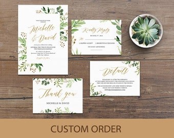 Wedding Invitation Template, Wedding Invitation Suite, Greenery Wedding Invitation, Wedding Invitation Printable, Rustic Wedding Invitation