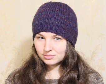 Knit beanie hat Woman knit hat Slouchy hat Slouchy beanie Women spring hat Beanie hat Boho hat Boho knit hat Women hat Purple hat