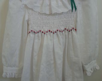 Vintage white eyelet Polly Flinders dress with red roses, size 3T