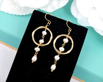 Freshwater Pearl and Matte Gold Ring Earrings