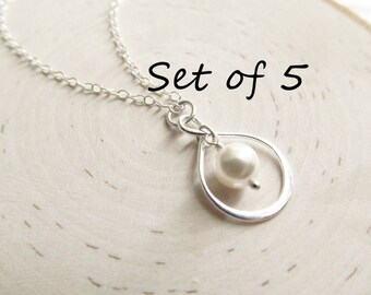 Bridesmaid Necklace Gift Set of 5, Silver Infinity Necklace, Solid Sterling Silver with Pearl, Pearl Bridesmaid Necklace, You Choose Color