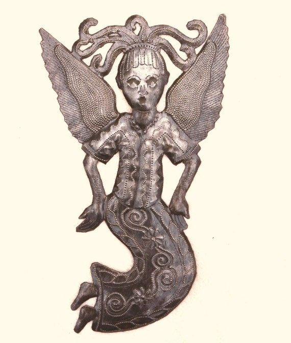 """Angel with Attitude, Garden Recycled Metal Art From Haiti 6"""" X 10"""""""