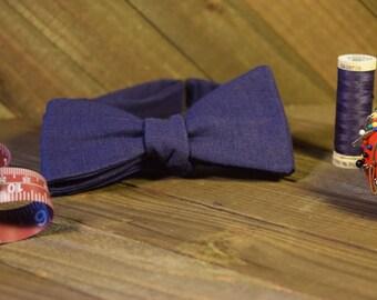 Navy Blue Self Tie Bow Tie