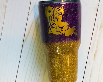 Personalized Glitter Tumbler, Yeti Style, Ozark, Dipped, Stainless, LSU, Tiger, Gold, Purple, Mother's Day, Graduation