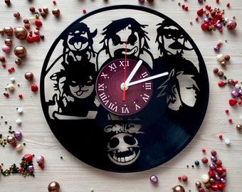 Gorillaz Music Gifts for kids Vinyl Records Clocks SIZE 12 INCHES gorillaz art gifts decor for bedroom