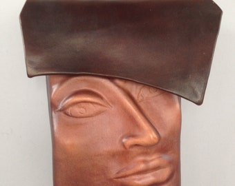 "Leather Purse ""Pursona"" Face Bag  by Einbender Studios in antique chocolate"