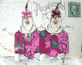 vibrant floral tin charm earrings assemblage botanical upcycled romantic cottage chic flea market finds