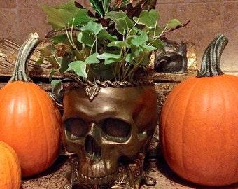 Human Skull Planter, Bronze Finish