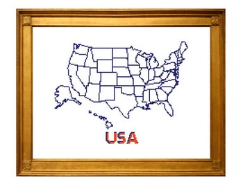 ORIGINAL USA xl Map Cross Stitch Pattern. Stitch the states. USA souvenir. United States map pattern. Diy travel party decoration