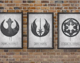 Star Wars Art Prints, Set of 3 Graffiti Prints - The Rebel Alliance, The Jedi Order & The Galactic Empire, Movie Poster