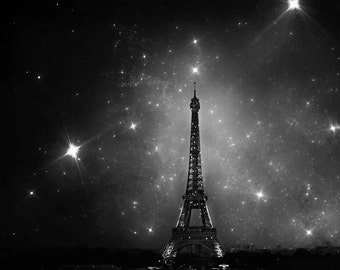 Eiffel Tower Print, Paris Wall Decor, Black and White Photo, Paris Wall Art, Paris at Night