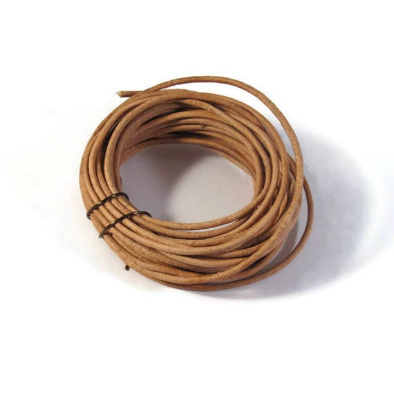 Natural Tan Leather, Strand of Brown Round Leather, 2mm,  8 Foot Coil, Great for Wrap Bracelets and Jewelry Making