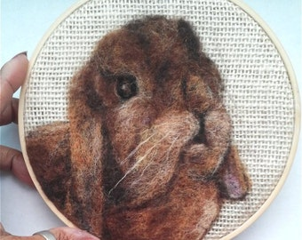 "Embroidery Hoop Art Mini Lop Bunny on Cream Burlap Needle Felting Pet Portrait 6"" READY to SHIP"