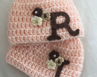 Custom Monogramed Crocheted Girl Hat Set with Felt Initial sizes Newborn to Child Baby Shower Gift Personalized Baby Hat