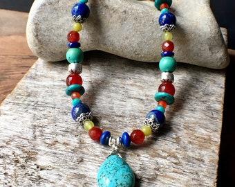 Multistone Gemstone Necklace, Turquoise Beaded Necklace, Turquoise Statement Necklace