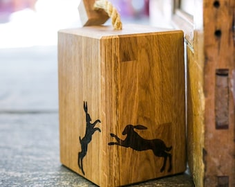 Boxing Hare Oak Doorstop - Gift For Dad - Gift For Him - Door Stop - Door Stopper - Country Home Decor - Country Decor - New Home Gift -Home