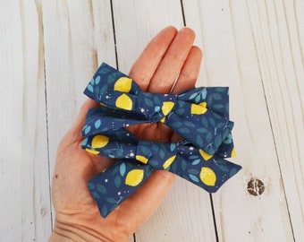 Lemon Navy Blue Hand-tied Simple Fabric Bow Nylon Elastic or Alligator Clip