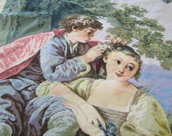 Vintage finished Renaissance Needle Point Canvas Flower Basket Couple - Very rare collectible item