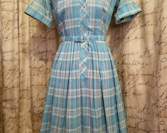1950's Vintage Handmade Pale Blue and Silver Shirt Dress